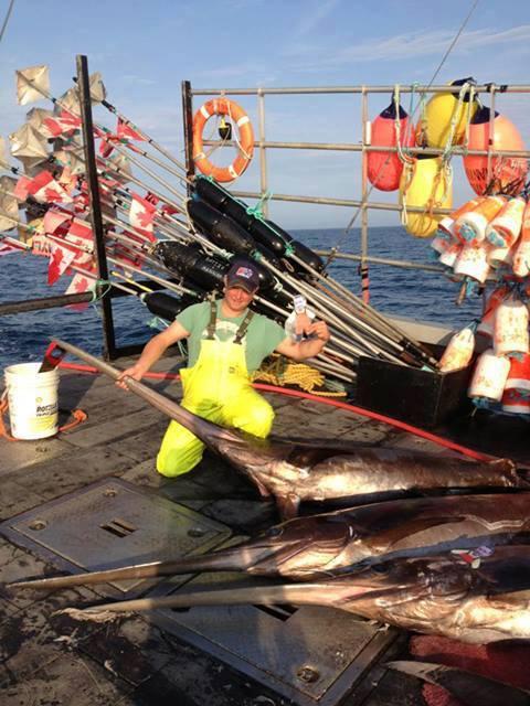 Mini Ben Sword Fishing with Dilan Leblanc of the coast of Nova Scotia Canada. Notice Dilan placed a second Mini Ben on the lower swordfish.