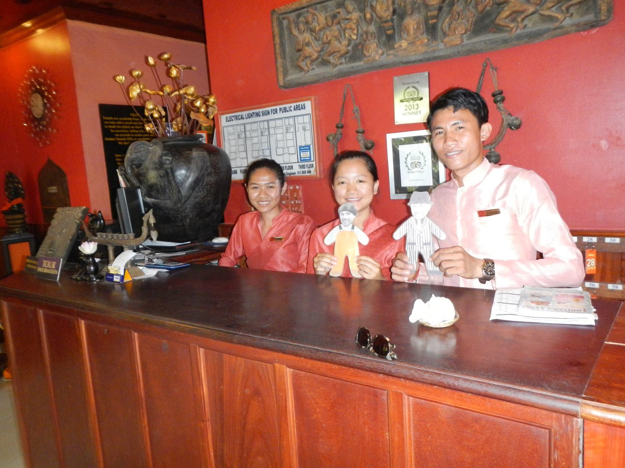 Mini Ben and the super friendly hotel staff at Golden Temple Villa