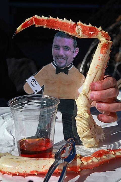 Mini Ben and a large crab leg!