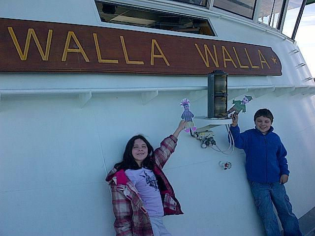 Mini Ben crossing Puget Sound on the Walla Walla Ferry